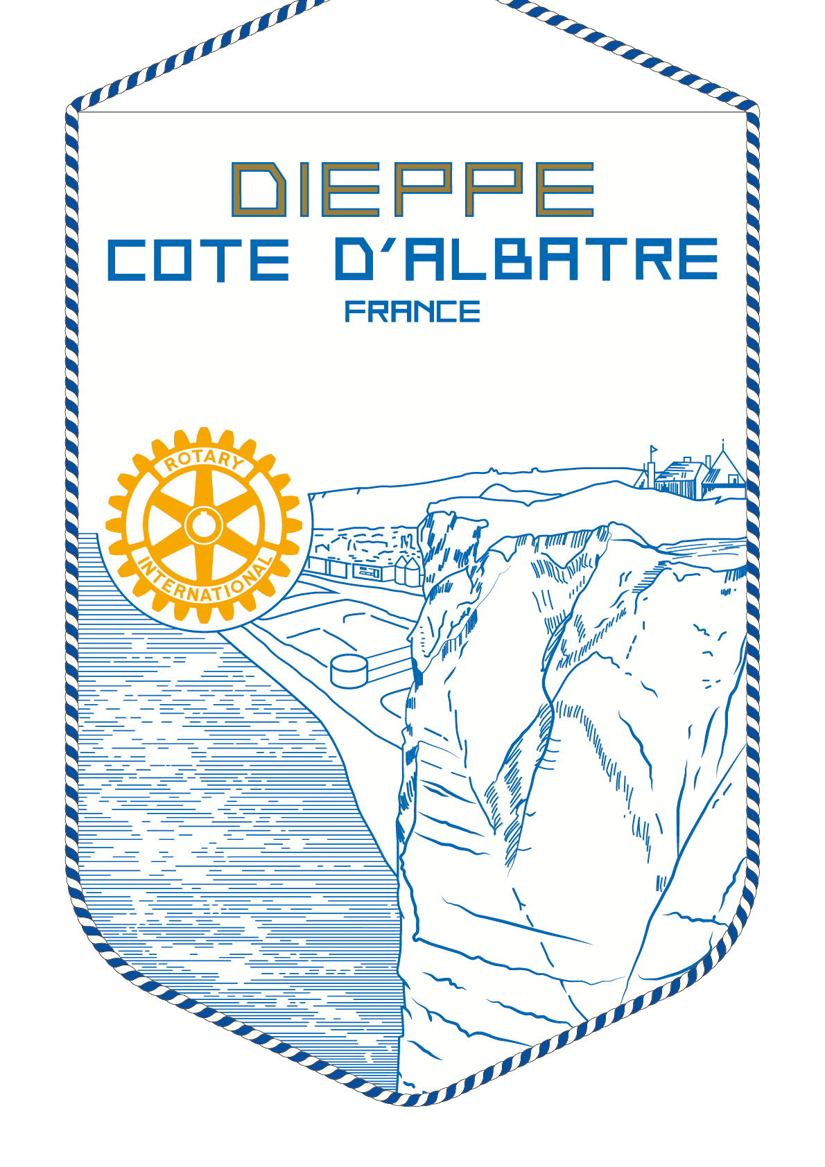 FANION ROTARY CLUB DIEPPE COTE ALBATRE