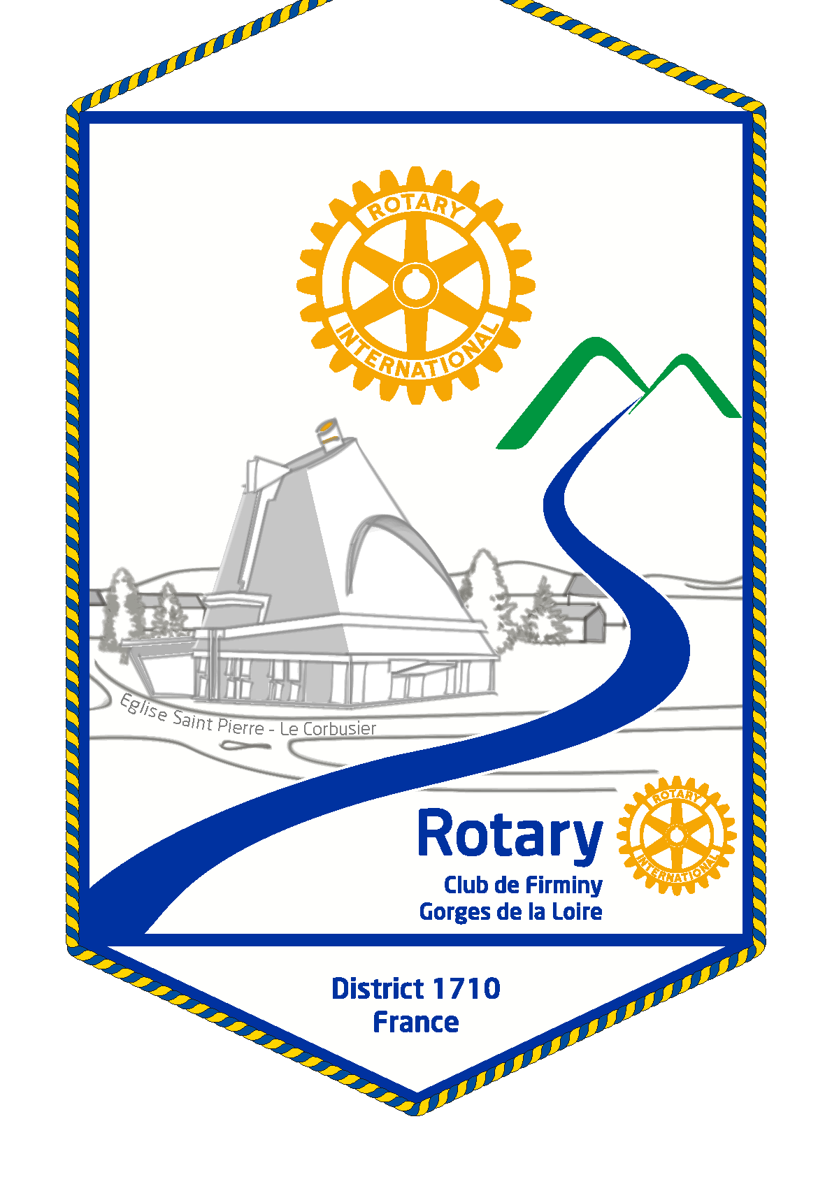 FANION ROTARY CLUB FIRMINY GORGES DE LA LOIRE