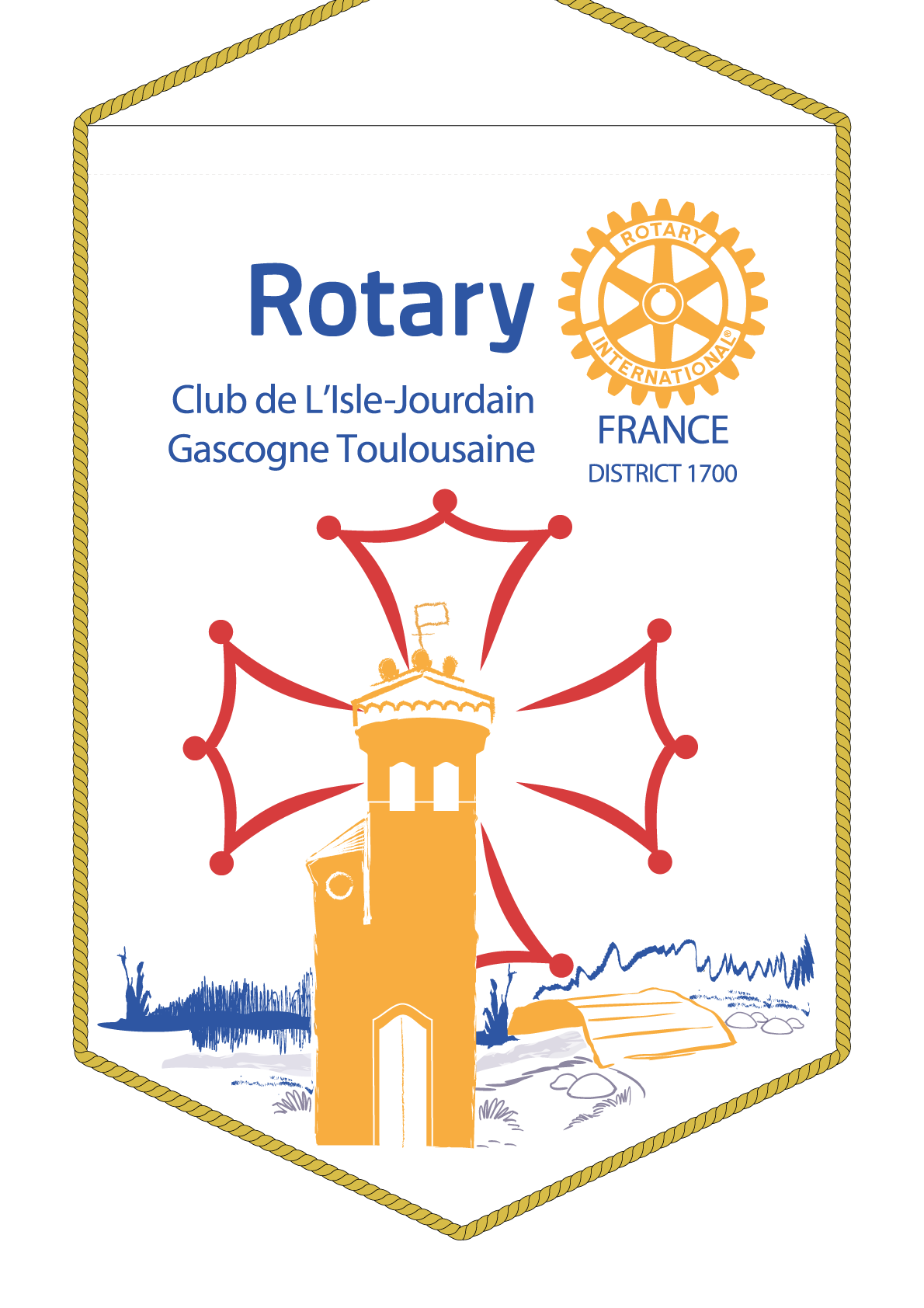FANION ROTARY CLUB ISLE JOURDAIN GASCOGNE TOULOUSAINE