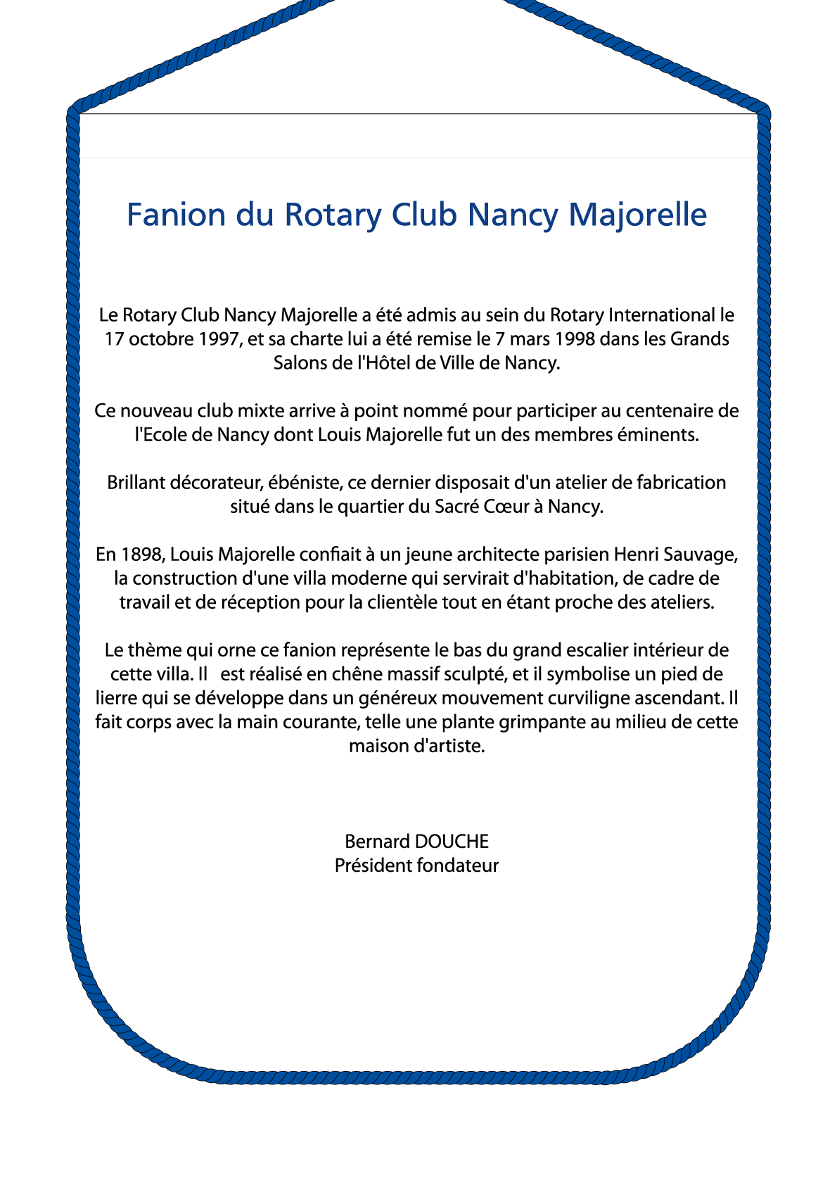 FANION ROTARY CLUB NANCY MAJORELLE V