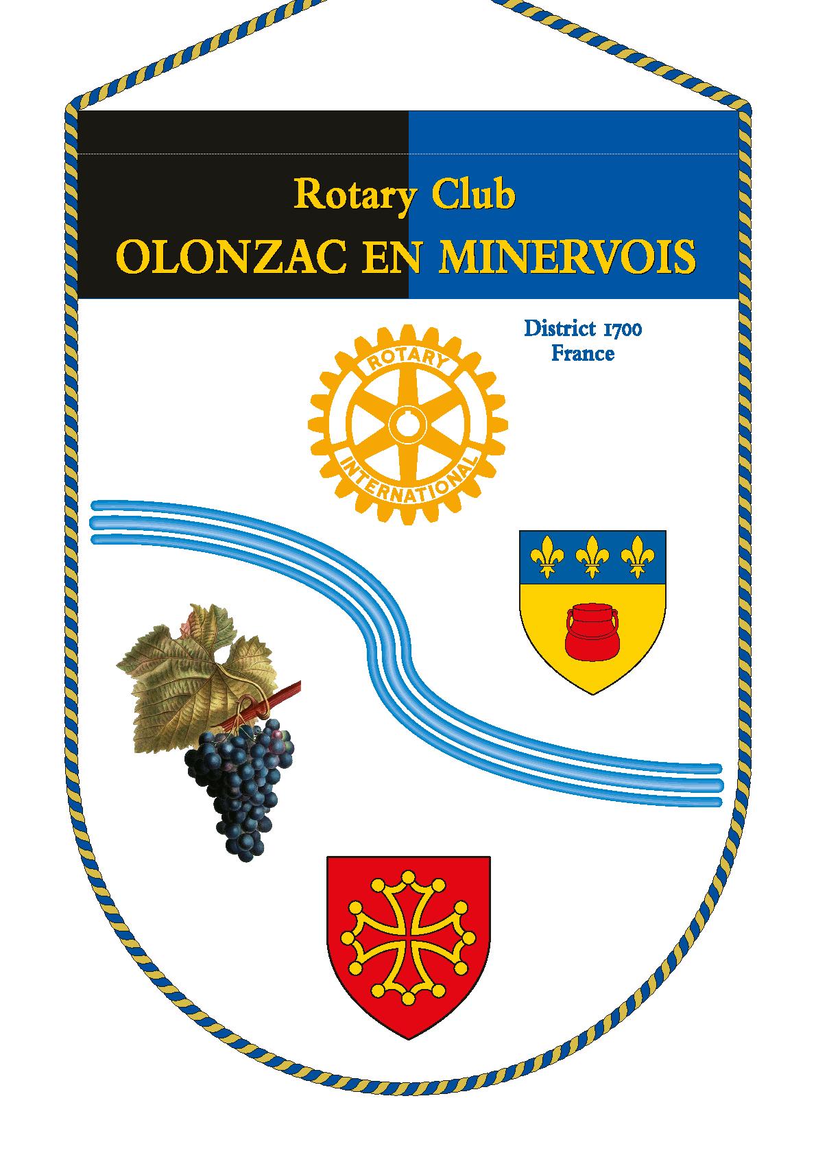 FANION ROTARY CLUB OLONZAC EN MINERVOIS