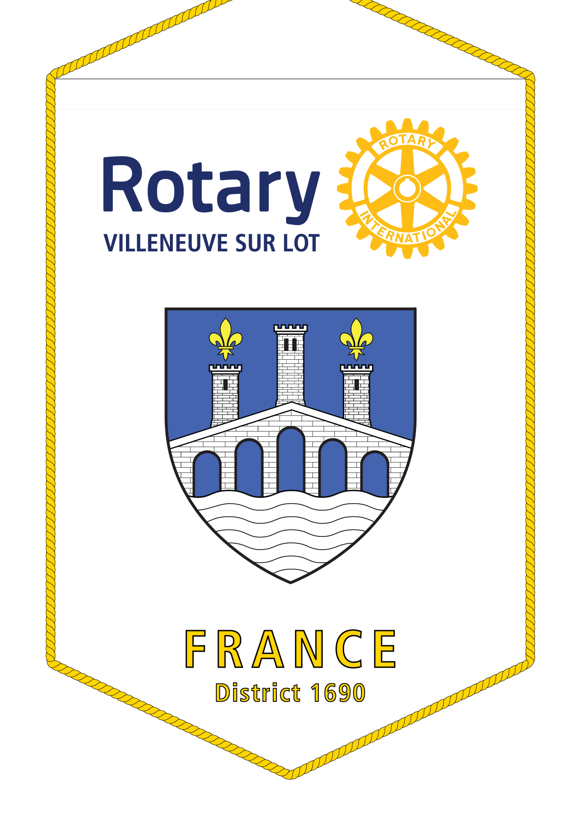 FANION ROTARY CLUB VILLENEUVE SUR LOT